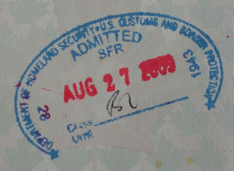 Entry passport stamp for the United States issued to a citizen of Canada by the U.S. Customs and Border Protection at San Francisco International Airport.