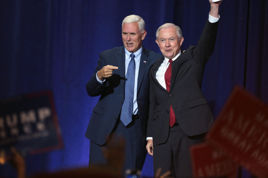 Jeff Sessions (right) with Vice President-elect Mike Pence on the campaign trail in September 2016. Photo courtesy of Wikimedia user Gage Skidmore.